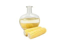 Corn on the cob and a bottle of corn oil Royalty Free Stock Photos