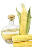 Corn on the cob and a bottle of corn oil Royalty Free Stock Images