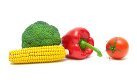 Corn on the cob, broccoli, cherry tomatoes and sweet peppers iso Stock Photo