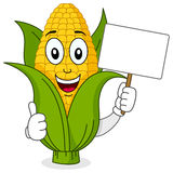Corn Cob Character Holding Blank Banner. A cute cartoon corn cob character smiling with thumbs up and holding a blank banner, isolated on white background. Eps Stock Images