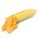 Corn cob and corn chips Royalty Free Stock Image