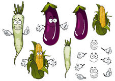 Corn cob, daikon and eggplant vegetables Stock Photos