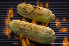 Corn on the Cob on a flaming Barbecue Grill Royalty Free Stock Photos