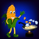 Corn cob fry popcorn. In a frying pan vector illustration Royalty Free Stock Photography