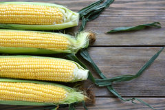 Corn cob and green leaves on wooden background Royalty Free Stock Photography