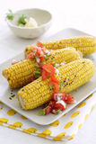 Corn on the cob with salsa. Three ears of corn, grilled on the cob, served with tomato salsa Stock Images