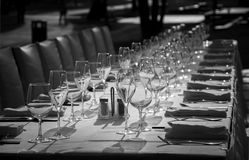 Dinner Table. Table set for dinner with glasses Stock Photos
