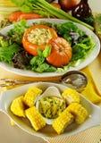 Corn Cobs And Stuffed Pumpkin Stock Image