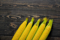 Corn cobs on vintage wood as background Stock Photos