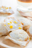 Corn on coconut rice cake, Kind of traditional Thai sweetmeat ca Royalty Free Stock Photography
