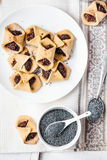 Corn cookies with paste from poppy seeds and dried fruit, vegan Royalty Free Stock Photography