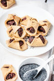 Corn cookies with paste from poppy seeds and dried fruit, vegan Royalty Free Stock Photos