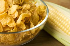 Corn and corn flakes royalty free stock images
