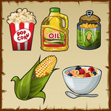Corn and corn products, five varieties of food Stock Photos