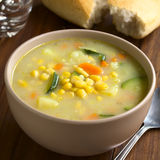 Corn and Courgette Chowder Soup Stock Photo