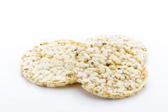 Corn crackers on the  white background. Stock Photos