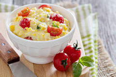 Corn and cream cheese dip Royalty Free Stock Images