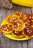 Corn crepes with pine nuts Royalty Free Stock Images