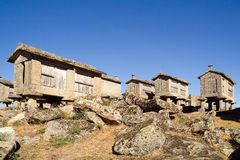 CORN CRIBS CABINS, PORTUGAL Royalty Free Stock Photos