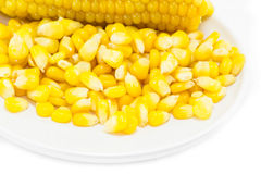 Corn cut cooked meat on white background Royalty Free Stock Photo