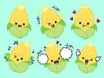 Corn cute character design.Vector illustation royalty free illustration
