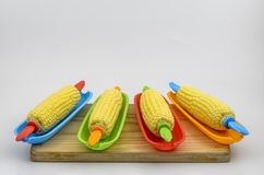 Corn in Dish on Board 01 Stock Photography
