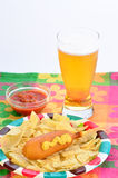 Corn Dog with Beer Stock Photo