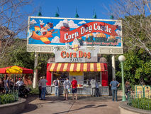 Corn Dog Castle at Paradise Pier in Disney. ANAHEIM, CALIFORNIA - FEBRUARY 13: Corn Dog Castle at Paradise Pier in Disney California Adventure Park on February Stock Photography