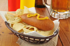 Corn dog and chips Stock Photo