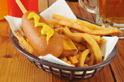 Corn dog with fries Stock Photography