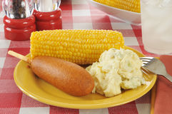 Corn dog with potato salad Royalty Free Stock Image