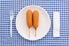 Corn Dogs. Having a Corn Dog Snack royalty free stock photos