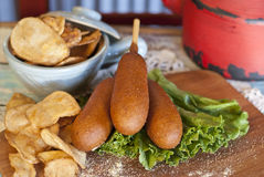 Corn Dogs with Kettle Chips Royalty Free Stock Photo