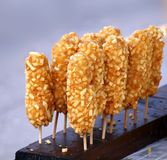 Corn Dogs on Sticks for Sale Royalty Free Stock Image