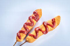 Corn dogs on the white background Royalty Free Stock Photos