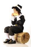 Corn-Eating Pilgrim Royalty Free Stock Images