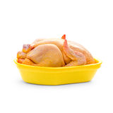 Corn-fed chicken in yellow packaging tray Royalty Free Stock Images