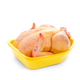 Corn-fed chicken in yellow packaging tray Royalty Free Stock Image