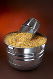 Corn feed. Galvanized tub filled with golden corn kernals and feed scoop royalty free stock photos
