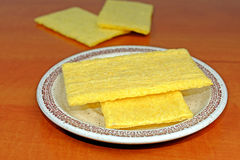 Corn fiber sandwiches on a plate on the wooden table Royalty Free Stock Photo