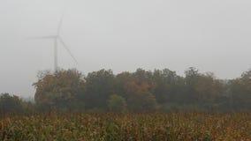 Corn Field Wind Turbine Fog 3 stock video footage