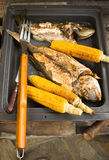 Corn and fish on bbq Stock Image