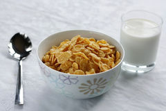 The Corn flakes. The Sound morning meal.The Loved flakes with milk Stock Photography
