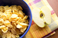 Corn flakes with apple Stock Photo