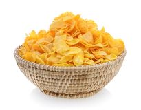 Corn flakes in basket Royalty Free Stock Photography