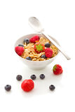 Corn flakes with berries - Isolated Royalty Free Stock Images