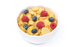 Corn flakes with berries, isolated, top view Royalty Free Stock Photography