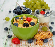 Corn flakes with berries Stock Images