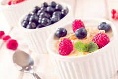 Corn flakes and berry fruit Stock Photography