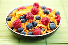 Corn flakes with berry fruits Royalty Free Stock Photography